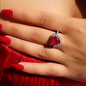 2ct Red Sterling Silver CZ Engagement heart Ring